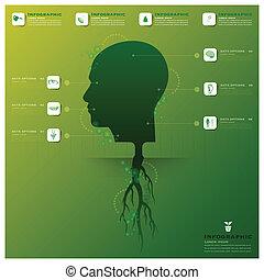 cabeza, árbol, y, raíz, infographic, diseño, plantilla