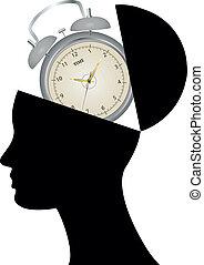 cabeza, abierto, reloj