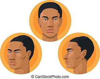 cabeza, africano, -, norteamericano, hombre