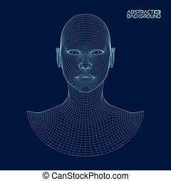 cabeza, ai, inteligencia, concept., wireframe, robot, artificial, computadora, brain., humano, digital, interpretation.