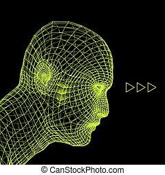 cabeza, alambre, persona, humano, modelo, grid., 3d