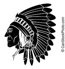 cabeza, apache, vector, ilustración