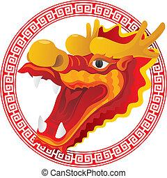 cabeza, arte, ilustración, dragón
