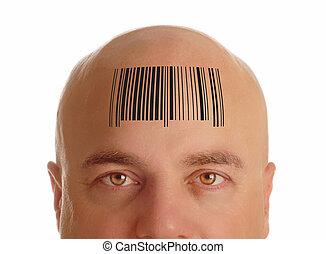 cabeza, barcode, estampado, hombre calvo
