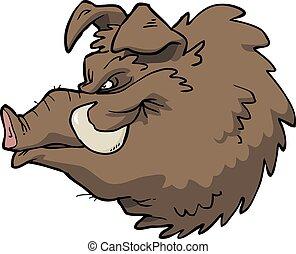 cabeza, boar's, caricatura