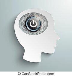 cabeza, botón de la energía, cerebro, papel, blanco