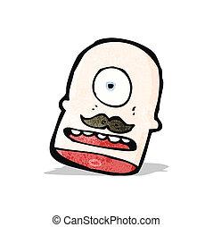 cabeza, cíclope, caricatura