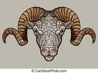 cabeza, carnero, mascota
