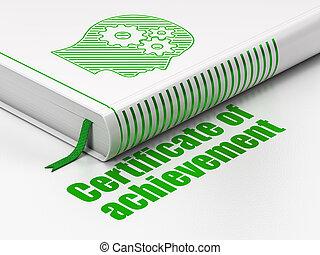 cabeza, certificado, libro, concept:, plano de fondo, engranajes, educación, blanco, logro