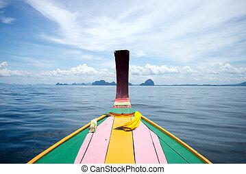 cabeza, cola larga, andaman, pescador, mar, barco