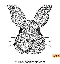 cabeza, colorido, adulto, conejo, zentangle, página, antistress