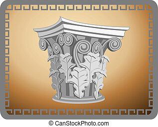 cabeza, columna corintia