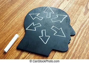 cabeza, concept., intelligence., forma, arrows., emocional, ...