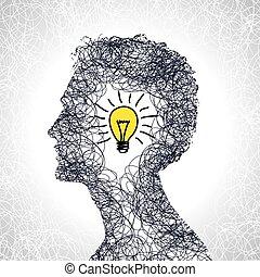 cabeza, concepto, idea, humano