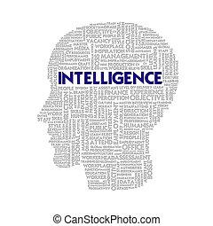 cabeza, concepto, palabra, empresa / negocio, inteligencia, dentro, forma, nube