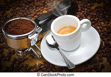 cabeza de máquina, grupo, espresso, café, italiano