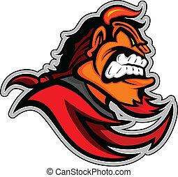 cabeza, diablo, demonio, ilustración, vector, rojo, mascota