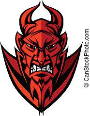 cabeza, diablo, illu, demonio, vector, mascota
