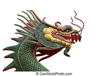 cabeza, dragón, aislar, sculture