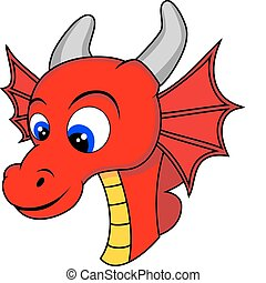 cabeza, dragón, lindo