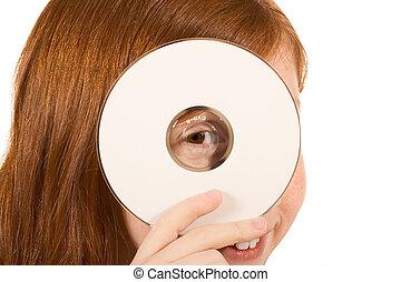 cabeza, dvd, blanco, -, (copy, señal, cd, space), niña, ...