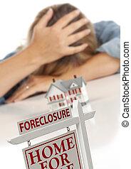 cabeza, ejecución hipoteca, entregue atrás, mujer, hogar, ...