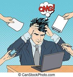 cabeza, el suyo, arte, work., computador portatil, multi, ilustración, vector, tasking, taponazo, hombre de negocios estresado, grabbed