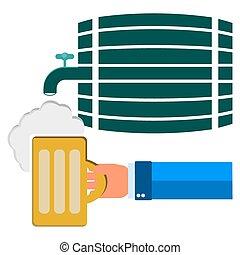 cabeza, el suyo, espuma, cerveza, mano, jarra, b, plano de ...