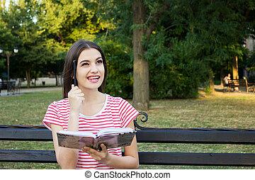 cabeza, ella, pensamiento, parque, maravilloso, banco,...