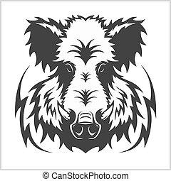 cabeza, emblema, jabalí, logotipo, mascota