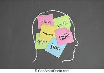 cabeza, empresa / negocio, habilidades, notas, él, tiza,...
