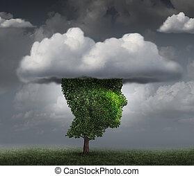 cabeza, en, el, nube