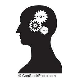 cabeza engranada, cerebro, vect, silueta