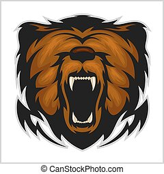 cabeza, enojado, -, aislado, oso, blanco