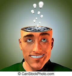 cabeza, entraren erupción, ideas, cubrir