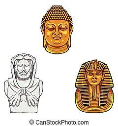 cabeza, estatua, ilustración, collectio