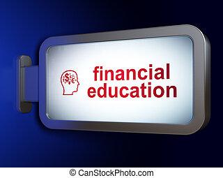 cabeza, financiero, finanzas, símbolo, Plano de fondo, aprendizaje, cartelera, educación,  concept:
