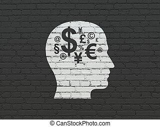 cabeza, finanzas, pared, símbolo, Plano de fondo, educación,  concept: