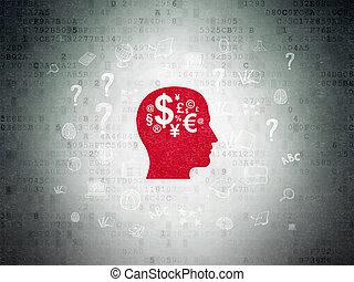 cabeza, finanzas, símbolo, papel, Plano de fondo,  digital, educación, datos,  concept:
