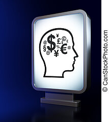 cabeza, finanzas, símbolo, Plano de fondo, cartelera, educación,  concept: