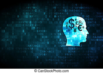 cabeza, finanzas, símbolo, Plano de fondo,  digital, educación,  concept: