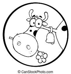 cabeza, flor, mascar, vaca