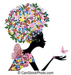 cabeza, flores, niña, ella