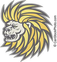 cabeza, fluir, melena, león, retro