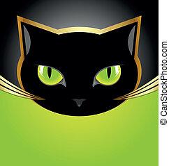 cabeza, gato negro