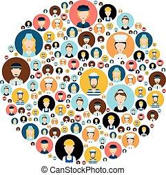 cabeza, gente, círculo, iconos