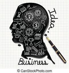 cabeza, gente, tinta, paper., formado