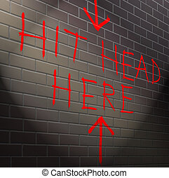 cabeza, golpe, contra, wall., ladrillo, su
