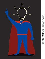 cabeza, héroe, luz, hand-drawn, bombilla, instead