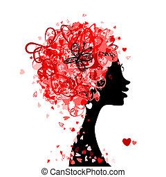cabeza, hecho, peinado, diminuto, diseño, hembra, corazones...